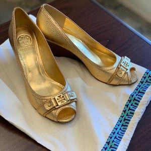 Tory Burch Peep Toe Wedge Shoes